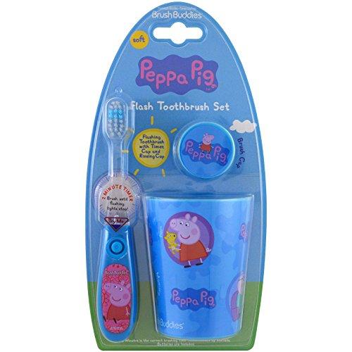 (Brush Buddies, Peppa Pig, Flash Toothbrush Set, Soft, 3 Piece)