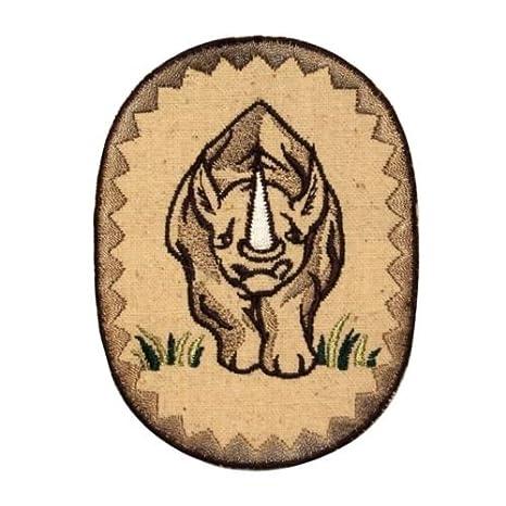ID 0755 Badge Patch rinoceronte Rhino Zoo retrato bordado ...