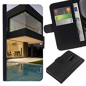 Planetar® Modelo colorido cuero carpeta tirón caso cubierta piel Holster Funda protección Para LG G3 / D855 / D850 / D851 ( Architecture Modern Pool House )