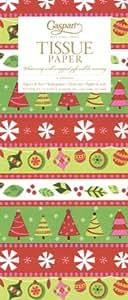 Caspari Calico - Papel de seda, 50 x 76 cm, 4 láminas, diseño de elementos de Navidad, multicolor