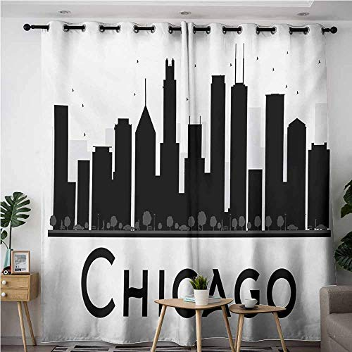 VIVIDX Simple Curtains,Chicago Skyline Simplistic Urban Silhouette Tourism Downtown Business City Buildings,Great for Living Rooms & Bedrooms,W84x84L,Black and White -