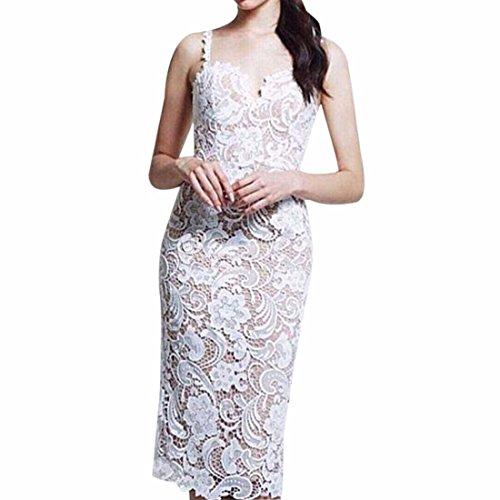 QIYUN.Z Las Mujeres Atan El Vestido Bodycon Vestido De Cuello Halter De Maniobra Coctel De Flores De Ganchillo Blanco (El Mismo Color Del Forro)