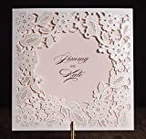 Wishmade Wedding Invitations Cards, White, 100 Pieces, CW5197, Customized Printing