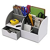BTSKY Multifunctional Desktop PU Leather Caddy Organizer - 7 Slots Compartments Office Desk Supplies Stationery Storage Box for Pen, Pencil, Cell Phone, Business Name Cards ect (White)