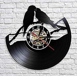 Zrgwl Parrots On Branch Vinyl Record Clock Parrot Couple Aviary Wall Decor Art Clock Birds Wall Clock Watch Bird for Animals S