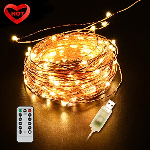 Ylife 33Ft 100 LED Fairy Light, 8 Modes String Lights Waterproof, USB Interface Remote Control, Decorative Copper Wire Mini Lights for Festival Party