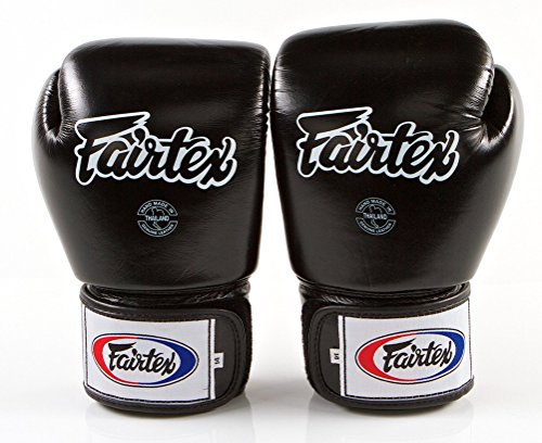 Fairtex Muay Thai Boxing Gloves BGV1 Size : 10 12 14 16 oz. Training sparring All purpose gloves for kick boxing MMA K1 (Solid Black, 16 oz) (Gloves Raja Boxing)