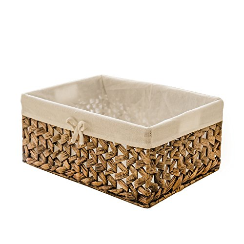Rectangular Woven Seagrass Storage Bins with Handle,Kingwillow. (water hyacinth, Large)