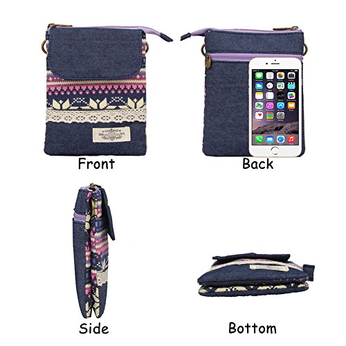 Pattern Purple Phone National Mini for Purse Small Women Girls Crossbody Canvas Style Bags Sf6qFwxSR