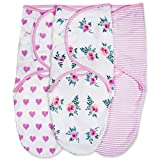 Emma + Ollie Swaddle Blanket Wrap Set of 3, Adjustable Infant Baby Swaddle Wrap Blanket, Pink Swaddle, Pink Flower, Pink Heart, Pink Stripe Swaddle Wrap, Girl Swaddle Baby Shower Gift
