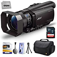 Sony FDR-AX100 4K Ultra HD Camcorder Video Camera + 64GB SD Card Memory, Carrying Case, Nations Photo Lab