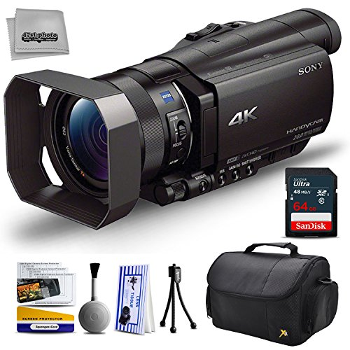 Sony FDR-AX100 4K Ultra HD Camcorder Video Camera + 64GB SD Card Memory, Carrying Case, Nations Photo Lab -  47th Street Photo, SNAX100K11