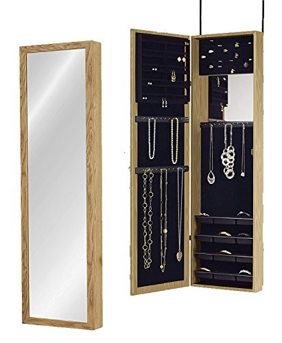 (Plaza Astoria Over The Door/Wall-Mount Jewelry Armoire with Full Length Dressing Mirror and Vanity Mirror for Earrings, Necklaces and Rings, Oak)