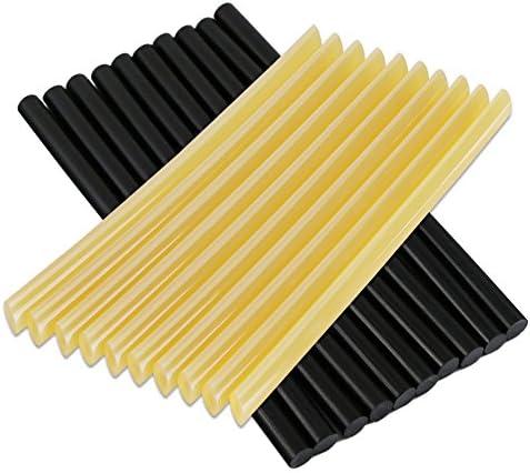 [スポンサー プロダクト]Manelord グルースティック ホットメルト デントリペア用品 接着剤 グルーガン用スティック 長さ27センチ*直径0.7センチ 黒色&黄色20本入り