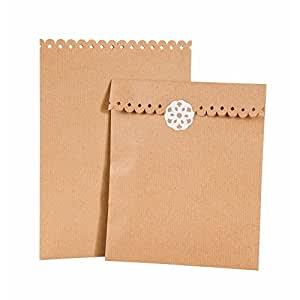 Talking Tables Kraft Brown Paper Bags X 8 & Stickers - Wedding / Cakes