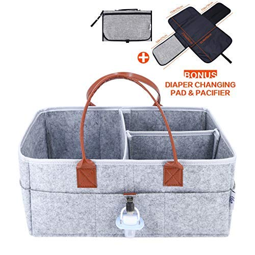 Baby Diaper Caddy Organizer - Baby Shower Gift Basket for Boys Girls - Baby Registry - Diaper Travel Tote Bag - Nursery Storage Bin for Changing Table - Large Portable Car Travel Caddy - Grey