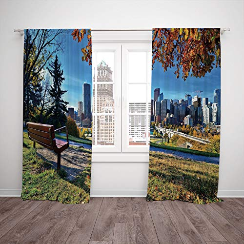 SCOCICI Polyester Window Drapes Kitchen Curtains [ City,Park Bench Overlooking The Skyline Calgary Alberta During Autumn Tranquil Urban,Multicolor] Bedroom Living Room Dorm Kitchen Cafe -