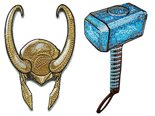 Marvel Comics The Avenger's Thor Hammer and Loki Helmet 2 Set Embroidered Iron On or Sew On Patches 2 Blossom Helmet