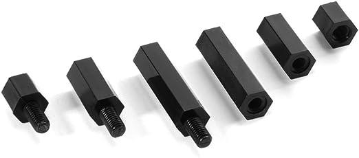 M3 Schwarz mit Sechskant-Schrauben Distanzhalter Nylon 260tlg M-F Schrauben-Set Schraubenmutter