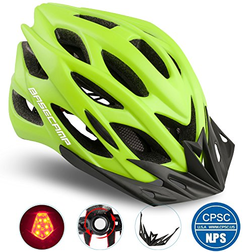Basecamp Specialized Bike Helmet with Safety Light,Adjustable Sport Cycling Helmet Bicycle Helmets for Road & Mountain Motorcycle for Men & Women,Youth Safety Protection (Green with Big Light)
