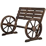 Wooden Wagon Wheel Bench Garden Loveseat Rustic Outdoor Park Furniture BestMassage