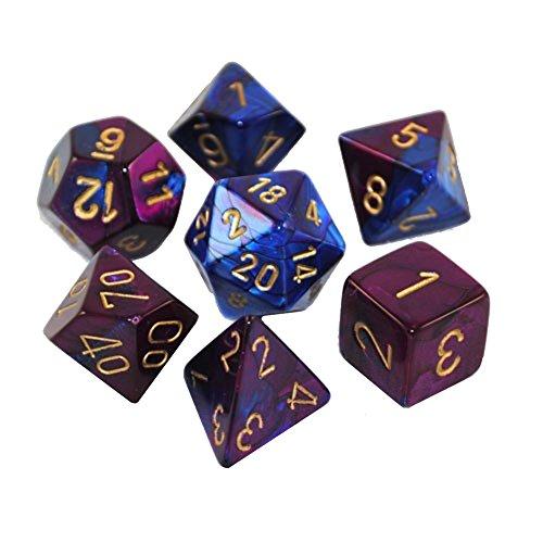 Chessex Manufacturing Cube Gemini Set Of 7 Dice - Blue & Pur