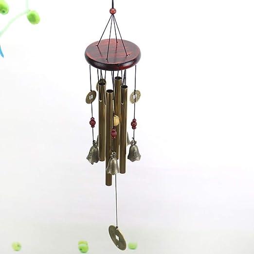 Vintage Carillones de viento 4 tubos de metal huecos de bronce y monedas de cobre chinas antiguas, hecho a mano, campanillas de viento para el hogar y el jardín: Amazon.es: Jardín