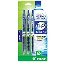Pilot B2P - Bottle to Pen - Retractable Gel Roller Pens Made from Recycled Bottles, 3 Pen Pack, Fine Point, Blue (31619)