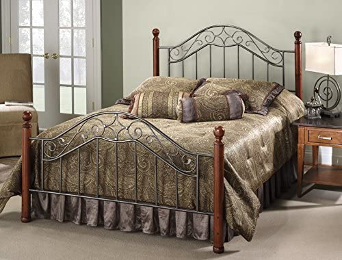 Hillsdale Furniture Martino Bed Set with Rails, Queen, Smoke Silver