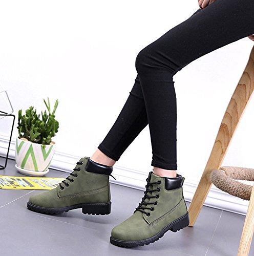 Winter Bootsschuhe Schnür Schuhe Boots Stiefeletten Herbst Damen Stiefel Camouflage Grün Schlupfstiefel Flache Aufladungen Martin Minetom Freien zIfPqz