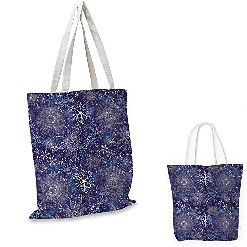 Dark Blue portable shopping bag Christmas Inspired Pattern with Artistic Ornate Curly Snowflakes Mandala Style shopping bag for women Multicolor. 13