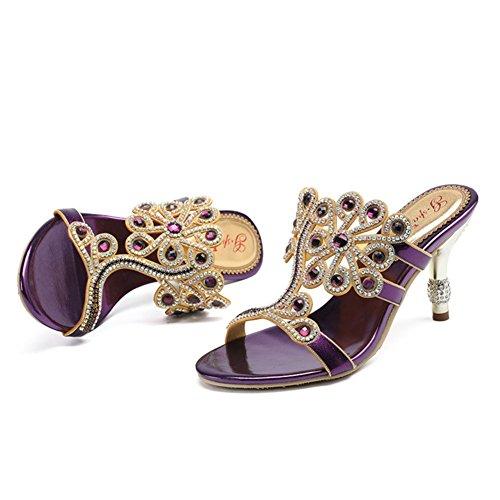 Tacón Alto Purple Para Sandalias Us5eu35uk3cn34 Verano De Highxe Mujer Zapatos Grado purple Imitación Mujeres Diamantes Redondas Cadena X4x6E1qt1w