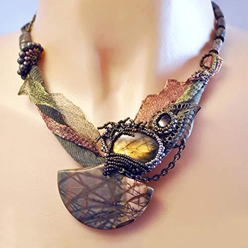Asymmetric Art Necklace with Labradorite, Jasper, Smoky Quartz and Pyrite; One of a -