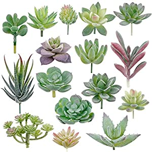 Augshy 16 Pack Artificial Succulent Flocking Plants Unpotted Mini Fake Succulents Plant for Lotus Landscape Decorative Garden Arrangement Decor 87