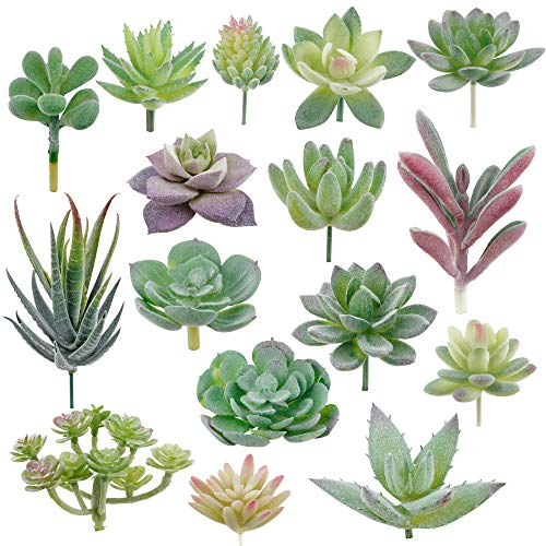 Augshy 16 Pack Artificial Succulent Flocking Plants Unpotted Mini Fake Succulents Plant for Lotus Landscape Decorative Garden Arrangement Decor (Succulent Faux)