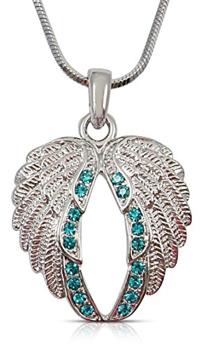 Small Crystal Guardian Angel Wings/Wing Pendant Necklace Fashion Jewelry Gift (Teal Blue)