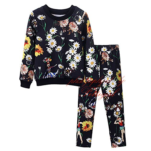 ODFAPP Adorable New Spring Autumn Printed Girls Clothing Fashion Girl Brand Children Clothing Girls Pant Sets Retail Kids Clothes Black7 - Of Pics Mall The Of America