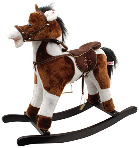Linzy Plush Plush Ride Rocking Horse with Sound Rocking Animal, Brown, 29