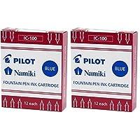 Cartucho de tinta de pluma estilográfica Namiki IC100, azul, 12 cartuchos por paquete (paquete de 2)