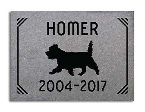 Vermont Slate 6 x 8 Tile Pet Memorial - Lines Design