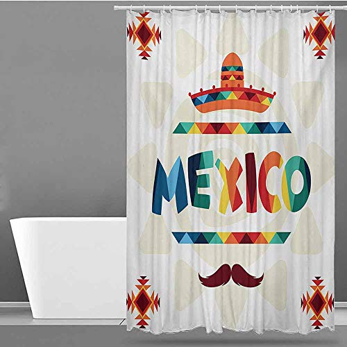 Tim1Beve Hotel Style Shower Curtain,Mexican Mexico Traditional Aztec Motifs and Sombrero Straw Hat and Moustache Graphic Print,Shower Hooks are Included,W48x72L,Multicolor