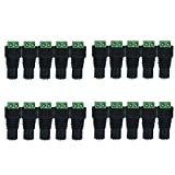 iCreating 20 pcs Female DC Connector Plug, 12V 5.5 X 2.1mm Barrel Power Jack Adapter Connector for CCTV Security Camera, LED Strip Light, DVR, Car Rearview Monitor System Video