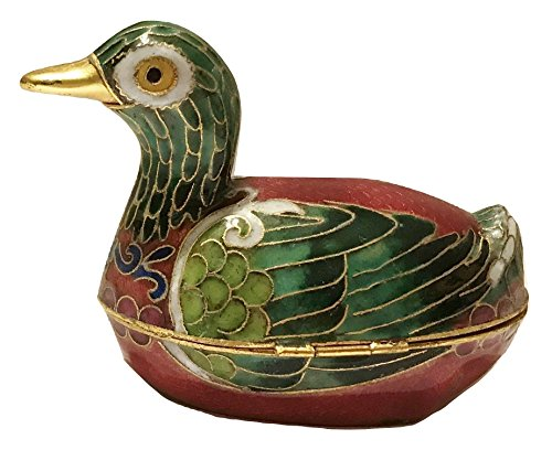 Oriental Treasures Cloisonne Mandarin Duck Red Green Trinket Box