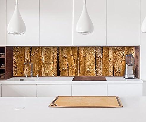 Aufkleber Küchenrückwand Wald Hintergrund Birke Baum Bäume Holz