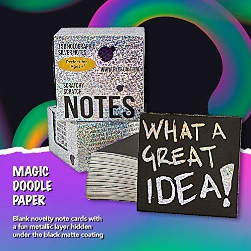 Purple Ladybug Scratch Off Mini Art Notes +2 Stylus Pen Set: 150 Sheets of Holographic Scratch Paper for Kids Arts and…