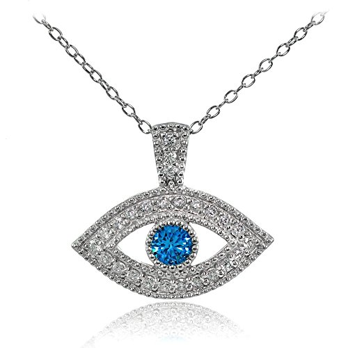 on Blue Cubic Zirconia Evil Eye Necklace (Blue Evil Eye Necklace)