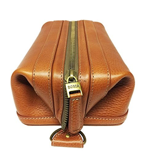 Bosca Correspondent 10'' Leather Zipper Framed Travel Toiletry Kit (Chestnut) by Bosca