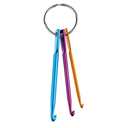 Fityle 3 Pieces High Quality Crochet Hook Keychain Keyring Mini