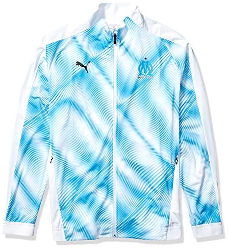 PUMA Men's Olympique de Marseille OM Stadium Jacket Domestic League, White Bleu Azur, XS