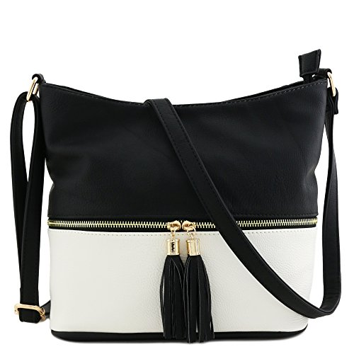 Colorblock Tassel Zipper Bucket Crossbody Bag Black/White